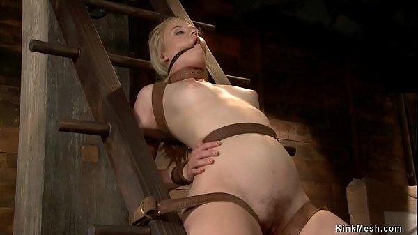Lezdom torments sub in extreme bondage