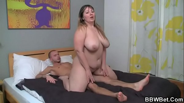 Fat bitch jumps on hard man meat
