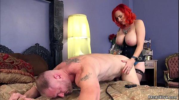 Huge tits MILF escort pegging man