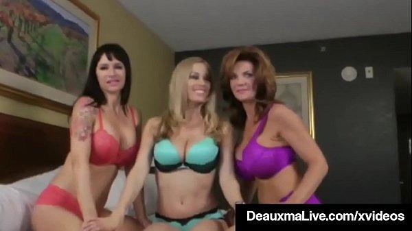 Busty Cougar Deauxma Pussy Fucks Angie Noire & Anita Dark