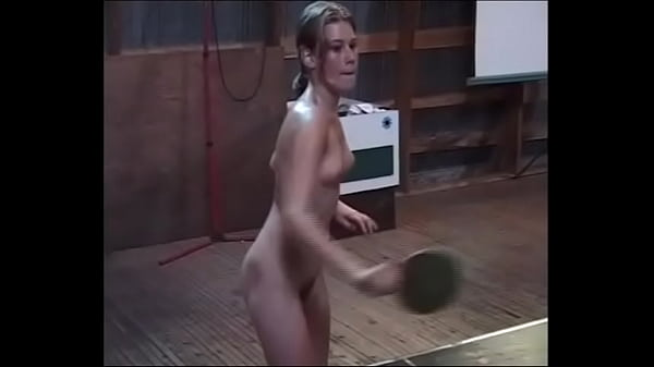 Nude oiled girls playing table tennis Thumb