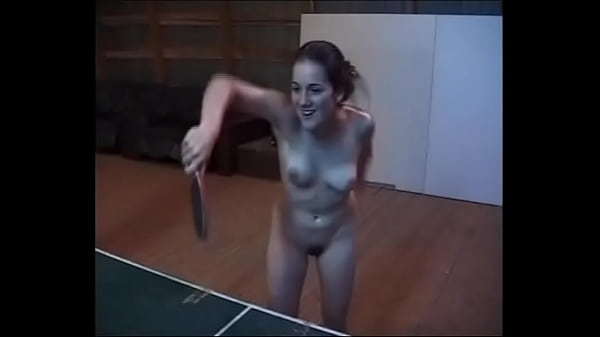Nude oiled girls playing table tennis