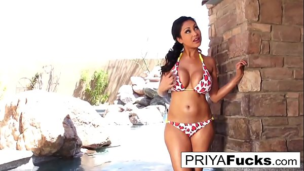 Busty Priya Rai gets all wet outside by the pool  thumbnail