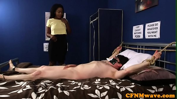 CFNM babes cocksucking restrained guy