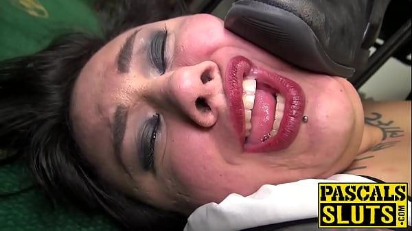 Goth chub Lily b. fed cum after rough cock insertion