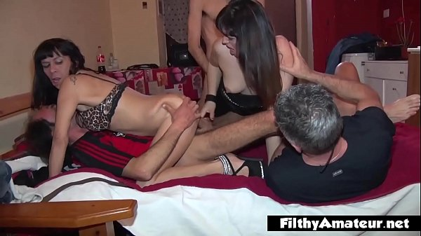 Real amateur fuck fest with swinger couples in Milan