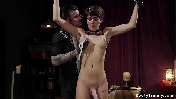 Shemale sub anal fucked in bondage