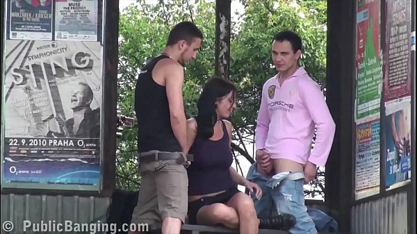 Hot busty girl public sex bus stop threesome wi...
