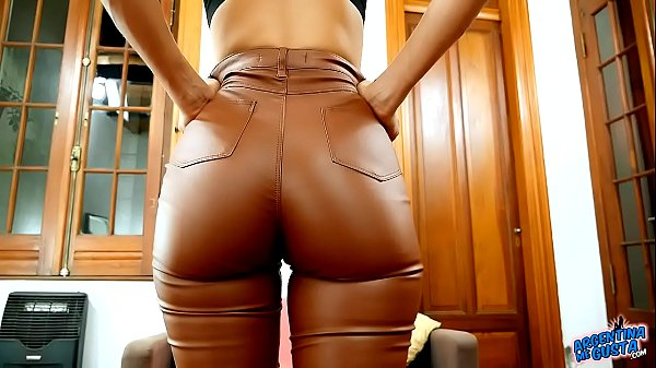 Amazing Ass and Cameltoe In Tight Brown Latex Spandex Pants Latina Babe