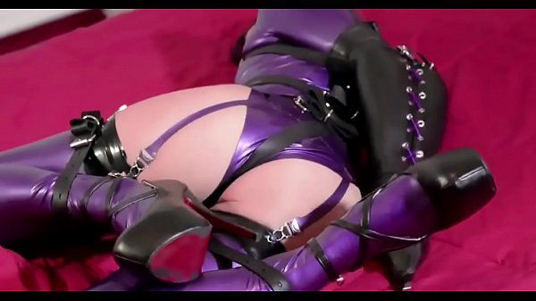 crazyamateurgirls.com - Bondage In Purple Latex - crazyamateurgirls.com