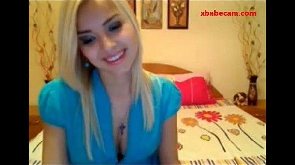 Hot young blond teen strips naked masturbates fingers her pussy