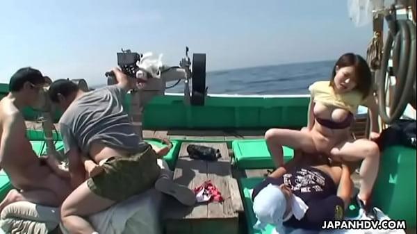 Asian sluts getting fucked on a fishing boat