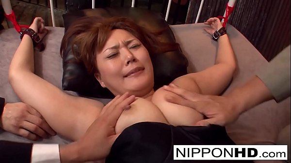 Tied up Asian hottie is fucked with fingers and...