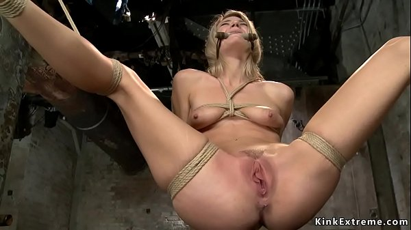 Tied blonde gets pussy whipped