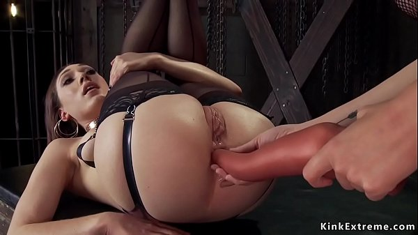 Lesbian in stockings is anal toyed Thumb