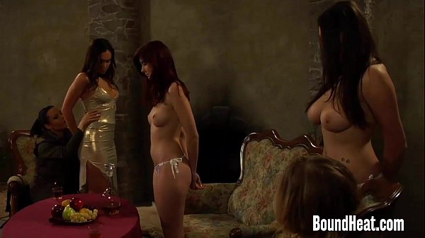 Two Slaves Naked In Front Of Lesbian Mistress