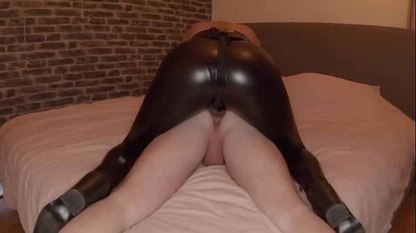 Girl in Leather Leggings Fucking Guy With Strapon Thumb