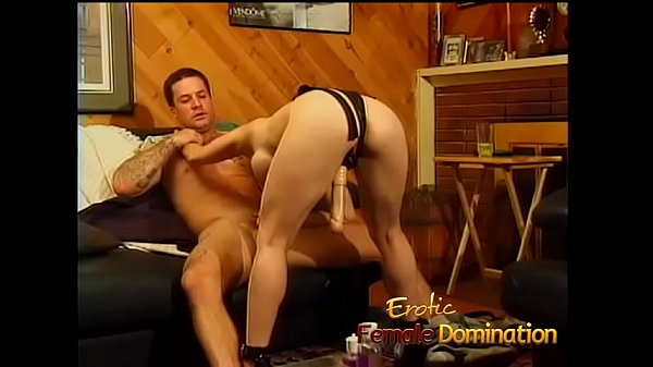 Submissive husband gets a blowjob before a nice hardcore pegging