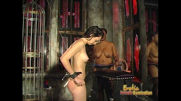 Voluptuous black chick loves spanking her white brunette girlfriend hard