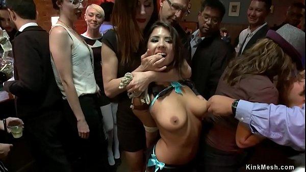 Little slut gets fucked in public