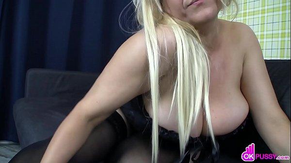 Curvy blonde MILF masturbates on webcam