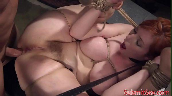 Ginger bondage sub frogtied for pussy fucking Thumb