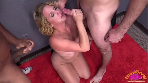 Dirty Blonde Sucks Multiple Dicks and Gets Facials