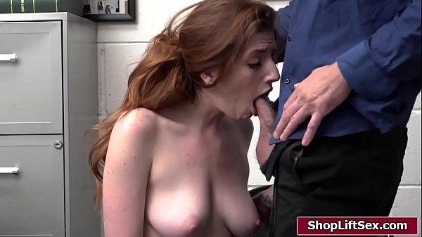 Busty redhead babe fucked by an officer
