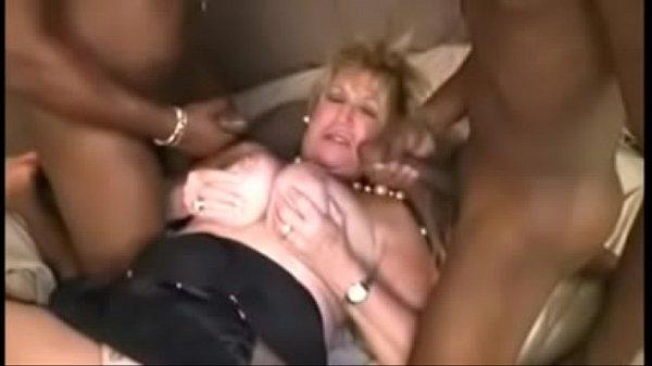 Cougar fucks two Big Black Cocks