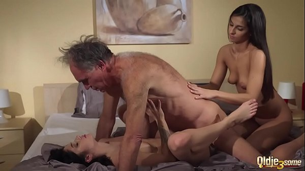 Old Young Porn Teens share old man and ride his...