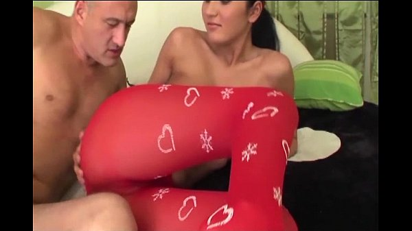 Petite brunette in crotchless pantyhose fucking