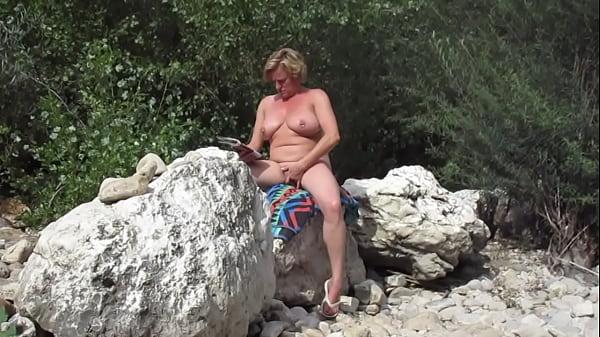 pierced big belly dutch wife  fingering her cunt on public beach Thumb