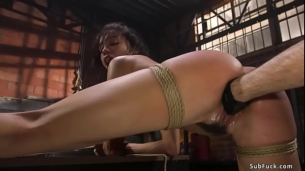 Ebony slave gets fisted and fucked