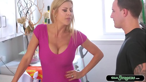 Sexy stepmom lets stepson fuck her pussy