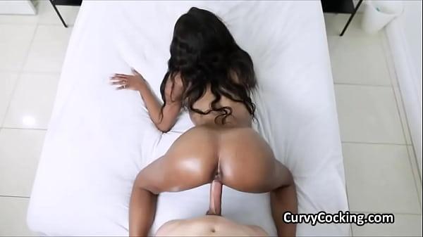 Oily ebony Jordy Love bouncing on big cock