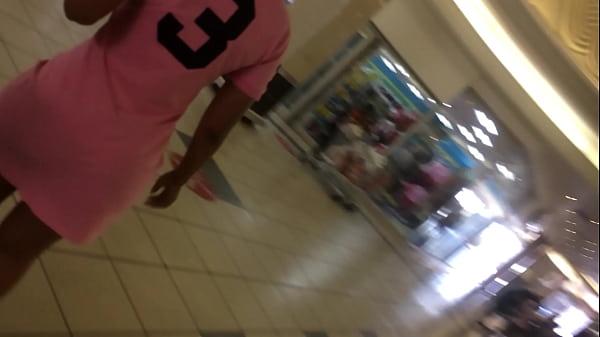 ass under pink skirt on an escalator.MOV