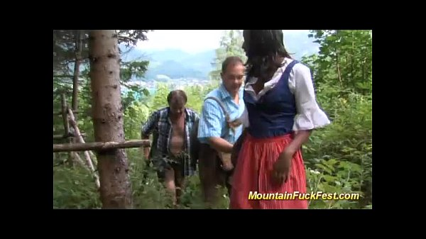 mountain threesome with black skinny Thumb