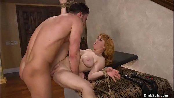 Husband binds and anal fucks busty wife