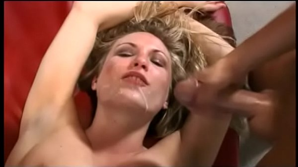 Blonde beauty with blue eyes Harmony Rose is infatuated with swallowing popped on her pretty face cookies after nasty sex with three guys at one time