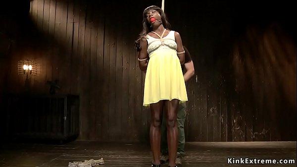 Ebony in yellow dress gets hogtie