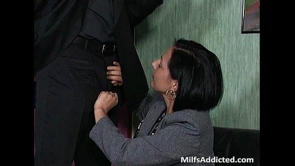 Slutty brunette MILF secretary gets wet