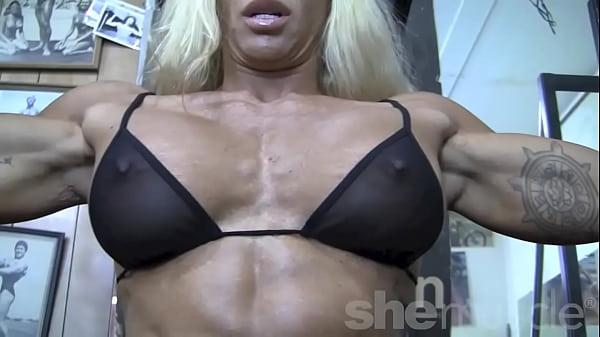 Blonde Sexy Female Bodybuilder in See Through T...