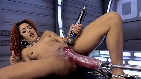 Ebony squirter bangs big dildo machine