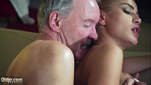 Old Man Dominated by sexy hot babe in old young...