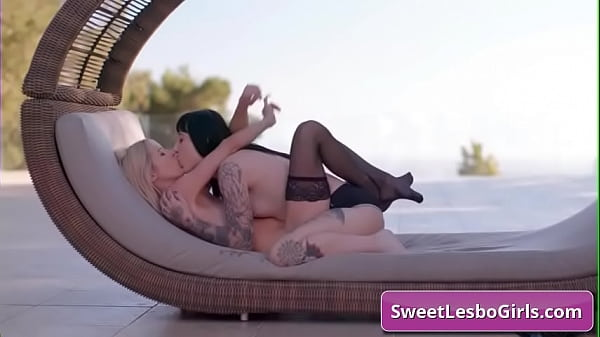 Gorgeous lesbian busty babes Aiden Ashley, Goth Charlotte fuck deep with strap-on dildo outside in the sunset deep and hard