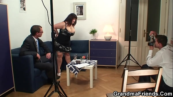 Two dudes share huge tits chubby mommy