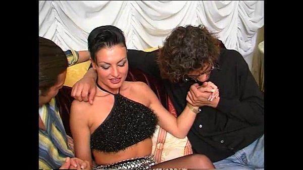 Sexy girl in upskirt groped and fucked by two men