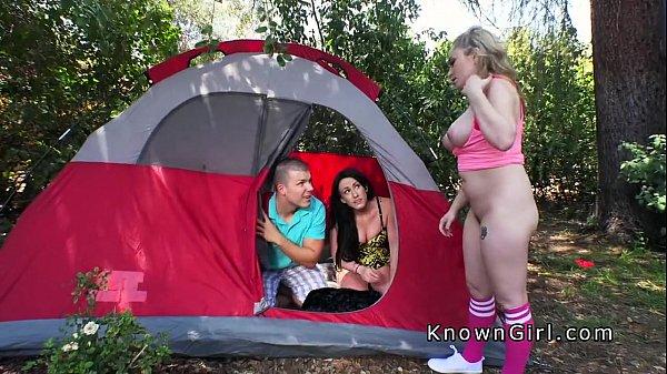 Huge tits blonde amateur bangs in camp Thumb