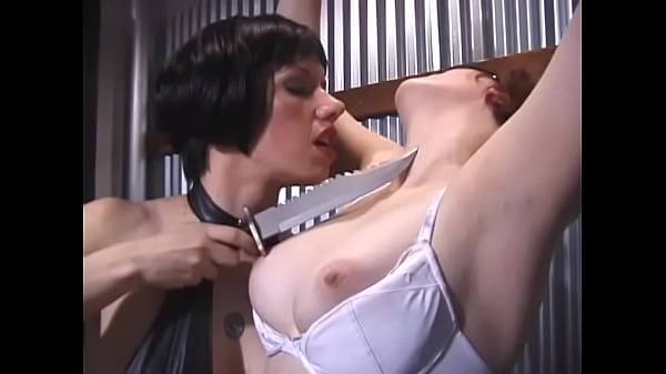 Hot brunette and horny redhead tied up their busty girlfriend and fondled her nipples and pussy hard