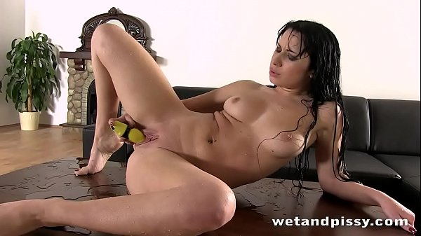 Dark Haired Stunner Loves To Play In Her Piss